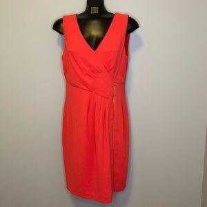 NWOT-IVANKA TRUMP coral vneck side ruched dress 12